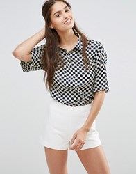 Darling Cropped Checked Shirt Chartreuse Navy Yellow