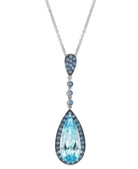 Macy's Sterling Silver Blue Topaz 5 Ct. T.W. And Blue Swarovski Zirconia 7 8 Ct. T.W. Pendant Necklace