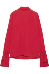 Marni Tie Back Crepe Blouse Red