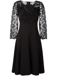 Ermanno Scervino Lace Sleeve Midi Dress Black