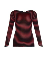 Saint Laurent Breton Stripe Fine Knit Silk T Shirt
