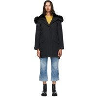 Yves Salomon Army Black Down And Fur Bachette Parka