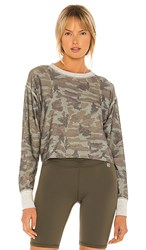 Body Language Rori Reversible Pullover In Green. Olive Camo Metal Camo And Heather