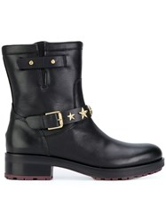 Tommy Hilfiger Star Strap Ankle Boots Cotton Calf Leather Leather Rubber Black