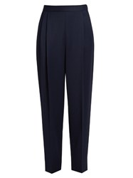 The Row Sea Wool Gabardine Trousers Navy