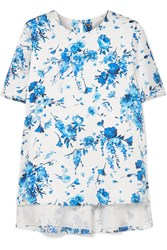 Adam By Adam Lippes Floral Print Hammered Silk Top Ivory