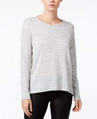 Bar Iii Zip Back Mixed Media Top Only At Macy's Light Heather Grey