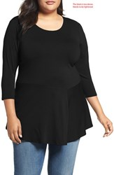 Vince Camuto Plus Size Women's Asymmetrical Panel Hem Top Rich Black