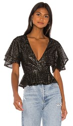 House Of Harlow 1960 X Revolve Suri Wrap Top In Black Metallic Gold. Noir And Gold