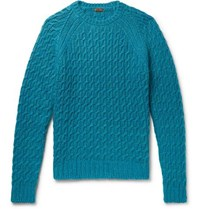 Barena Slim Fit Cable Knit Sweater Petrol