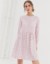 Daisy Street Long Sleeve Smock Dress In Ditsy Rose Print Pink