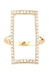 14Th And Union Open Crystal Rectangle Ring Metallic