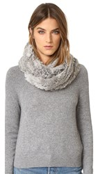 Jocelyn Fur Knitted Infinity Scarf Natural Grey
