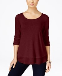 Styleandco. Style Co. Chiffon Hem Top Only At Macy's Deep Scarlet