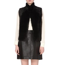 Whistles Short Reversible Shearling Gilet Black
