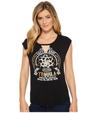 Rock And Roll Cowgirl Short Sleeve Tee 49T5541 Black T Shirt