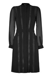 Belstaff Black Silk Leather Hastings Mix Pleated Dress Black
