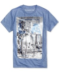 Ring Of Fire Men's La Clear Graphic Print Cotton T Shirt Only At Macy's Denim Blue