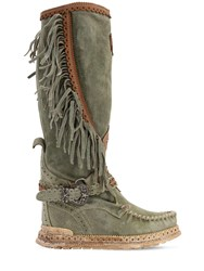 El Vaquero 70Mm Jade Fringed Suede Boots Washed Green