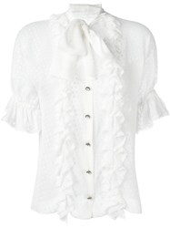 Dolce And Gabbana Polka Dot Ruffled Blouse White