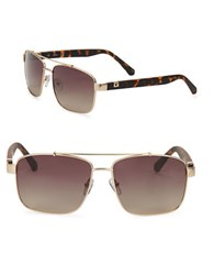 Guess 59Mm Gold Metal Navigator Sunglasses Gold Brown