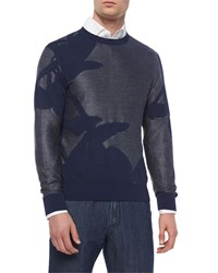 Brioni Mixed Media Floral Print Sweater Navy