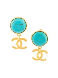 Chanel Vintage Turquoise Logo Clip On Earrings Green