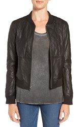 Paige Women's 'Zoey' Quilted Leather Bomber Jacket Black