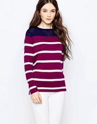 Sugarhill Boutique Hallie Stripe Jumper Navy Wine Cream Red