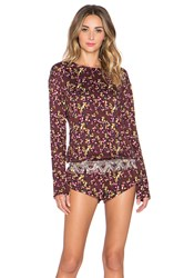 Beach Riot Crimson Floral Long Sleeve Romper Brown