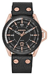 Men's Diesel 'Rollcage' Leather Strap Watch 46Mm