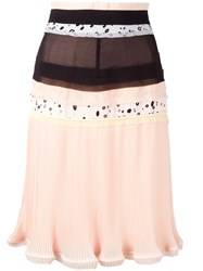 Carven Patchwork Pleated Skirt Nude Neutrals