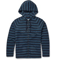 Outerknown Lowtide Striped Cotton Blend Terry Hoodie Blue