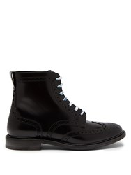 Burberry Perforated Leather Lace Up Ankle Boots Black