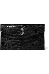 Saint Laurent Uptown Croc Effect Patent Leather Clutch Black