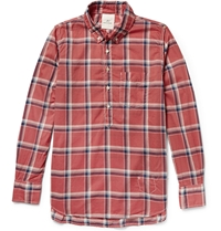 Remi Relief Button Down Collar Checked Cotton Shirt Red