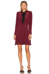 The Kooples Long Sleeve Tie Neck Dress Burgundy