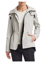 Akris Punto Pin Dot Jacquard Parka Cream Black