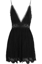 Zimmermann Curacao Lace Paneled Broderie Anglaise Silk Chiffon Playsuit Black