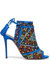 Aquazzura Colorado Embroidered Suede Sandals Cobalt Blue