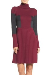 Adrianna Papell Women's Fit And Flare Sweater Dress Wineberry Multi