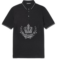 Dolce And Gabbana Slim Fit Embroidered Cotton Pique Polo Shirt Black