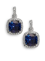 Judith Ripka Blue Corundum White Sapphire And Sterling Silver Square Drop Earrings