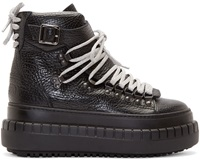 Acne Studios Black Leather Hover High Boots