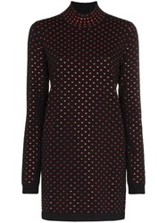 Adam Selman Turtle Neck Heart Embellished Mini Dress Black