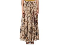 Valentino Women's Floral And Butterfly Print Cotton Maxi Skirt Nude