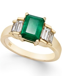 Macy's Emerald 1 5 8 Ct. T.W. And Diamond 3 4 Ct. T.W. Ring In 14K Gold Green