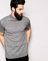 Asos Knitted Tshirt With Turtle Neck Blkwhttwist