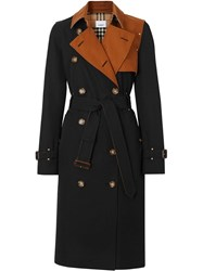 Burberry Two Tone Cotton Gabardine Trench Coat Black
