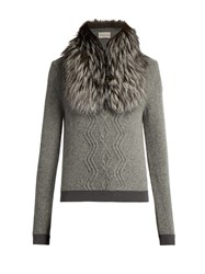 Moncler Detachable Fur Collar Wool Blend Sweater Light Grey